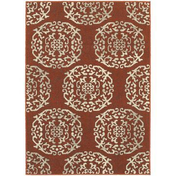 Style Haven Global Influence Red/Beige Floral Medallion Area Rug (9' 10 x 12' 10) - 9'10