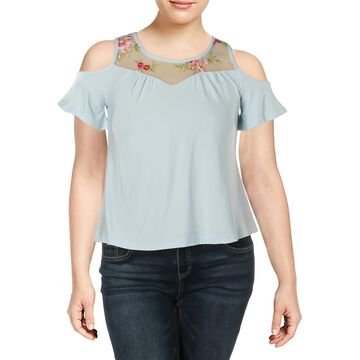 Ultra Flirt Womens Juniors Embroidered Cold Shoulder Blouse