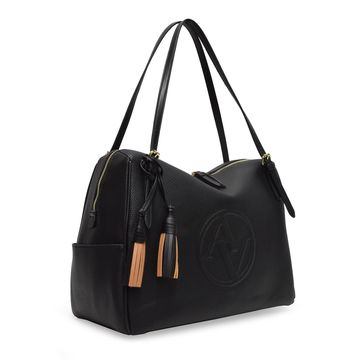 Adrienne Vittadini Logo-Embossed Tassel Shoulder Bag