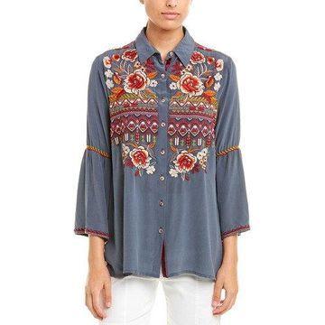 Johnny Was Womens Silk Shirt