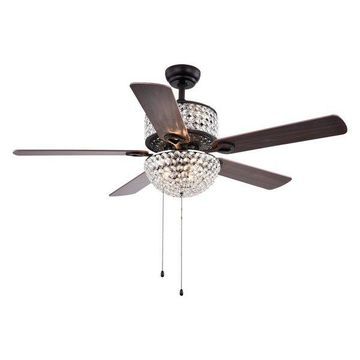 Warehouse of Tiffany Metal Ceiling Fan With Black Finish