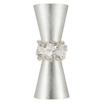 Fine Art Lamps Arctic Halo 2 Bulbs B-10 Candelabra Sconce - Silver Leaf