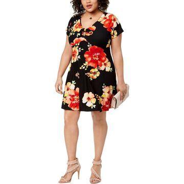 Planet Gold Womens Plus Floral Keyhole Casual Dress