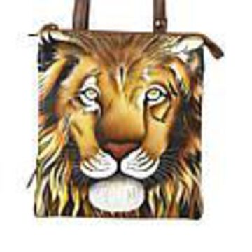 Anuschka Hand Painted Leather Triple Compartment Crossbody - Lions Pride Tan