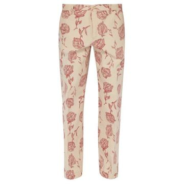 Aries - Rose Print Cotton Twill Chino Trousers - Mens - Red White