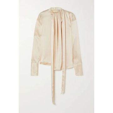 Loewe - Lavalliere Tie-detailed Hammered-satin Blouse - Ivory