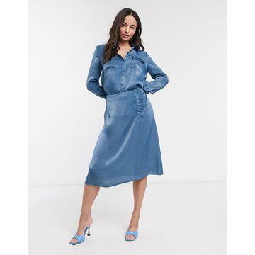 Ichi satin gathered bias cut midi skirt-Blue