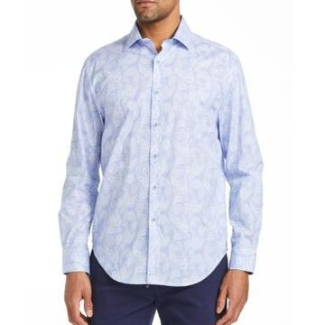 Tallia Men's Slim Fit Pine Print Shirt and a Free Face Mask