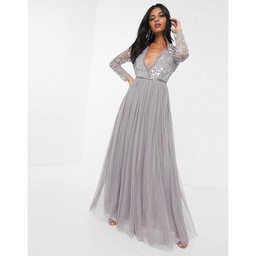 Needle & Thread sequin bodice maxi dress in gray