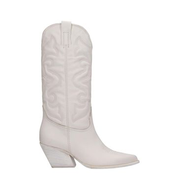 Elena Iachi Texan Boots In White Leather