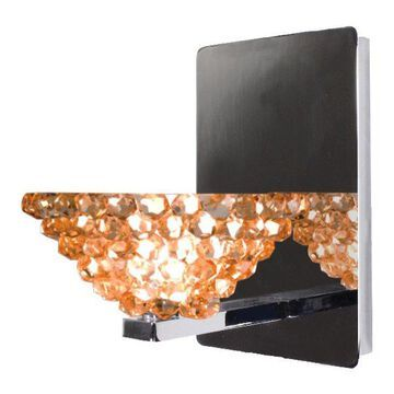 WAC Lighting Giselle LED Wall Sconce With Champagne Diamond Glass, Chrome