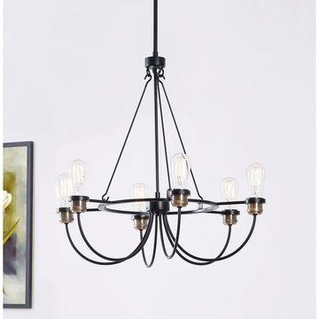 Design Craft Aiden Black 6-Light Chandelier