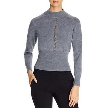 Elie Tahari Tatum Embellished Mock-Neck Sweater