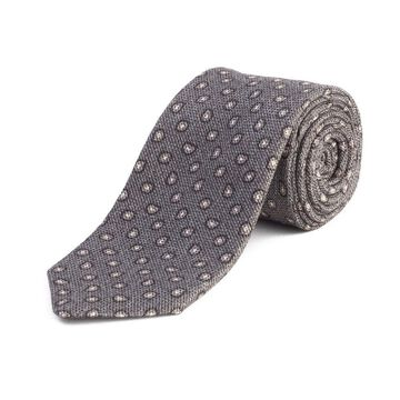 Ermenegildo Zegna Men's Silk Textured Paisley Tie Grey - No Size