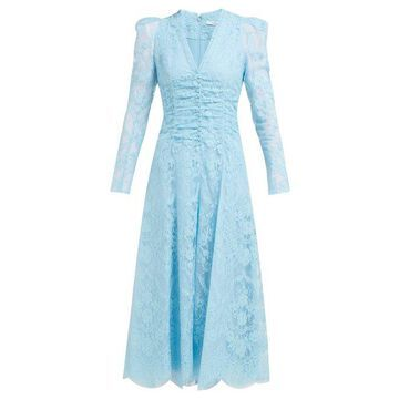 Erdem - Annalee Cotton Blend Chantilly Lace Gown - Womens - Blue