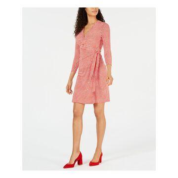 ANNE KLEIN Womens Red Polka Dot Long Sleeve V Neck Above The Knee Wrap Dress Dress Size: L