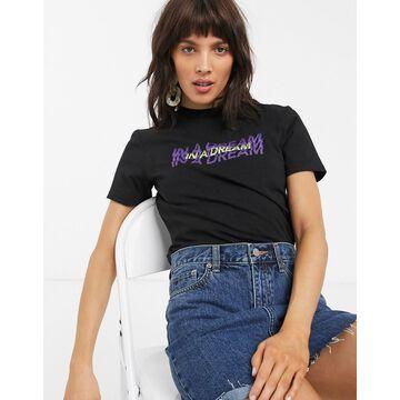 Dr Denim dream slogan cropped t-shirt-Black