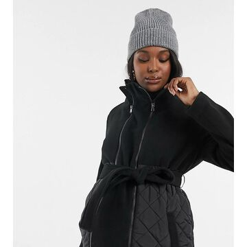 Mamalicious Maternity & Nursing combination coat with quilted detail in black