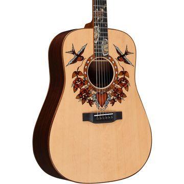 True Love Sailor Jerry Dreadnought Acoustic Guitar Natural