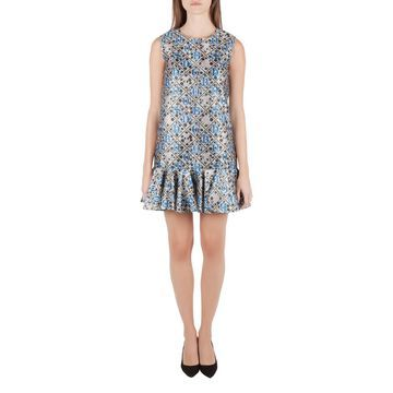 Mary Katrantzou Silver and Blue Metallic Drop Waist Jaspa Dress S