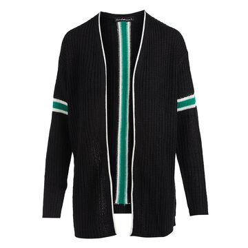Derek Heart Women's Open Cardigans BLACK - Black & Green Stripe Drop-Shoulder Open Cardigan - Juniors