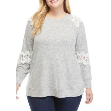 Cupio Women's Plus Size Pullover With Lace Trim - -