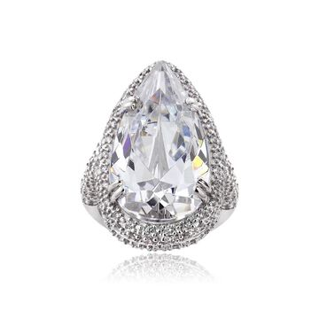 ICZ Stonez Sterling Silver 27 3/8ct TGW Multi-color Cubic Zirconia Ring