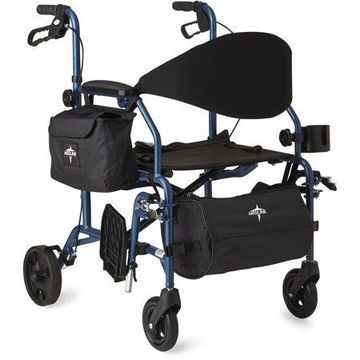 Medline Combination Rollator Transport Wheelchair, Folding Rolling Walker Wheel Chair, 6