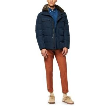 Marc New York Men's Godwin Down Filled Trucker Jacket with Removable Faux Fur Collar and Hidden Hood