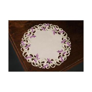"""Xia Home Fashions Lavender Lace Embroidered Cutwork Round Placemats, 15"""" Round, Set of 4"""