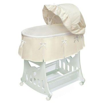 Badger Basket Portable Short Skirt Bassinet in Ecru