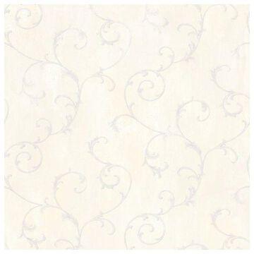 Brewster MEA79111 Mimosa Lavender Scroll Wallpaper
