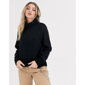 Noisy May fleece sweater with roll neck in black