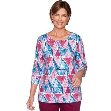 Women's Alfred Dunner Embellished Geometric Print Top
