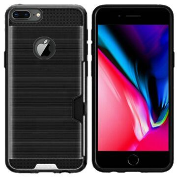 Insten PC/TPU Rubber ID/Card Slot Case Cover For Apple iPhone 8 Plus - Black