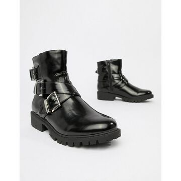 London Rebel chunky buckle boots