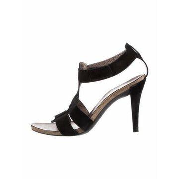Suede T-Strap Sandals Black