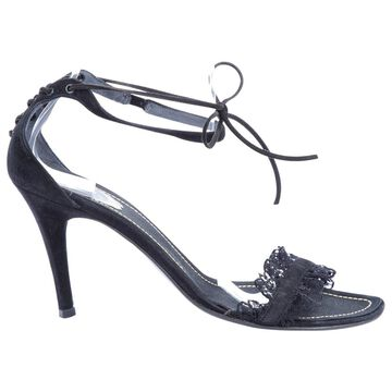 Rene Caovilla Black Suede Sandals