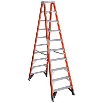 Werner T7400 Fiberglass 10-ft Type 1AA - 375-lb Capacity Twin Step Ladder in Orange | T7410