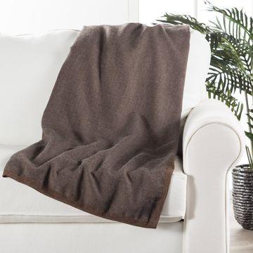 Juniper Home Sinead Solid Brown/Grey Alpaca Wool Throw