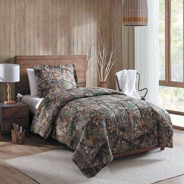 Realtree Edge Camo Comforter Set, Lt Brown, King
