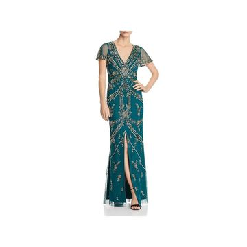 Aidan Mattox Womens Evening Dress Formal Beaded