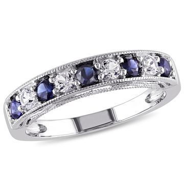 Modern Bride Gemstone Womens 2MM Lab Created Blue Sapphire Band