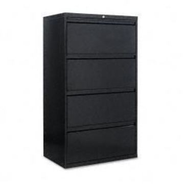 Alera Four-Drawer Lateral File Cabinet, Black