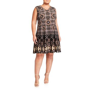 Plus Size V-Neck Fit-and-Flare Dress