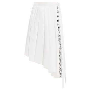 Rochas - Asymmetric Pleated Sequinned Cotton-poplin Skirt - Womens - White