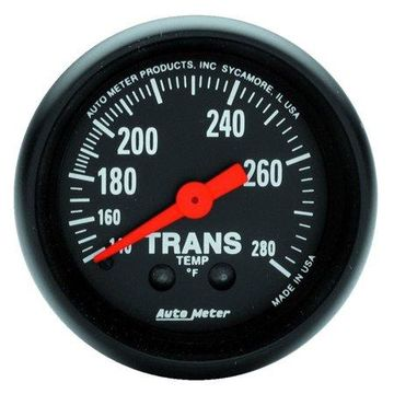 AutoMeter 2615 Z-Series Mechanical Transmission Temperature Gauge; 2-1/16 in.; Black Dial Face; Fluorescent Red Pointer; White Incandescent Lighting; Mechanical; 140-280 Degree F;