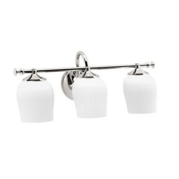 Gatco Tavern 3-Light Wall Sconce In Polished Nickel with Glass Shade