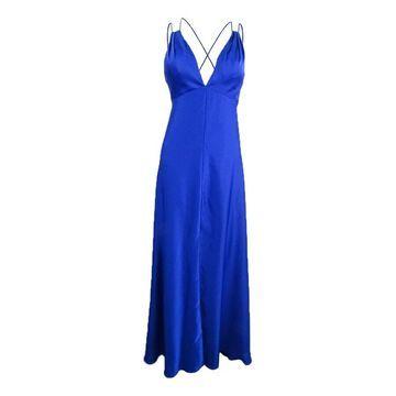 Aidan Mattox Women's Plunge Neck Gown - Cobalt - 0