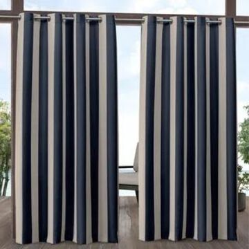 ATI Home Canopy Stripe Outdoor Grommet Top Curtain Panel Pair (54X96 - Navy / Sand)